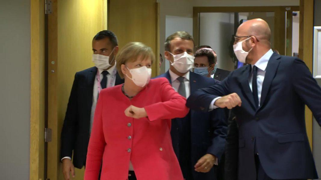 Angela Merkel, Emmanuel Macron et Charles Michel